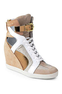CASADEI Snapdragon suede and leather wedge trainers