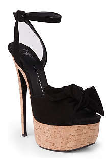 GIUSEPPE ZANOTTI Suede and cork peep-toe sandals