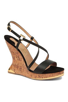 FERRAGAMO Shade leather wedge sandals