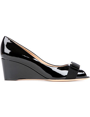 FERRAGAMO Sissi patent leather wedges