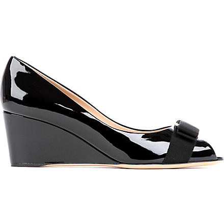 FERRAGAMO Sissi patent leather wedges (Black