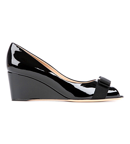 SALVATORE FERRAGAMO Sissi patent-leather wedges (Black