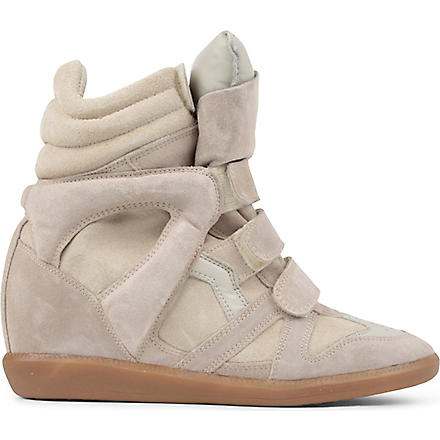 ISABEL MARANT Bekket suede and leather wedge trainers (Beige