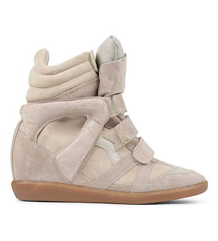 ISABEL MARANT Bekett suede and leather wedge trainers (Beige