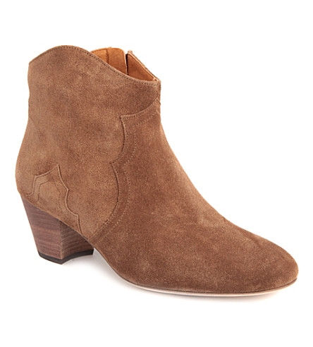 ISABEL MARANT Dicker suede ankle boots (Tan