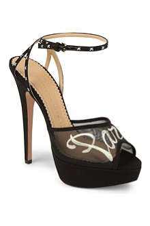 CHARLOTTE OLYMPIA Paris mesh and leather sandals