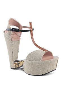 SW1 BY STUART WEITZMAN Teeter canvas platform sandals