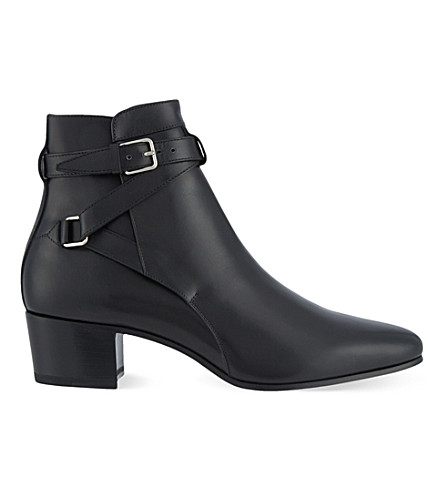 SAINT LAURENT Signature jodhpur boots in black leather (Black