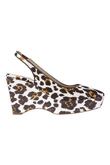 STELLA MCCARTNEY Nathalie leopard-print cavnas wedge courts