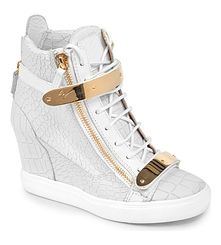 GIUSEPPE ZANOTTI Lucinda mock-croc leather wedge trainers (White