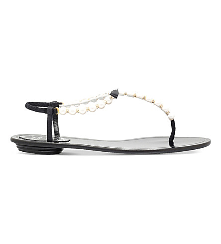 RENE CAOVILLA Trick embellished leather flat sandals (Black