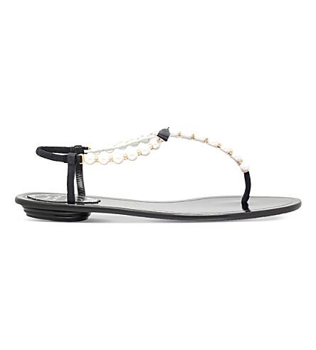 RENE CAOVILLA Trick embellished leather flat sandals (Black