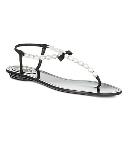RENE CAOVILLA Trick pearl detail sandals (Blk/white