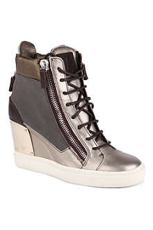 GIUSEPPE ZANOTTI Milan metallic leather wedge trainers