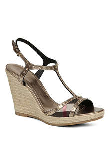 BURBERRY Laleham leather wedge sandals