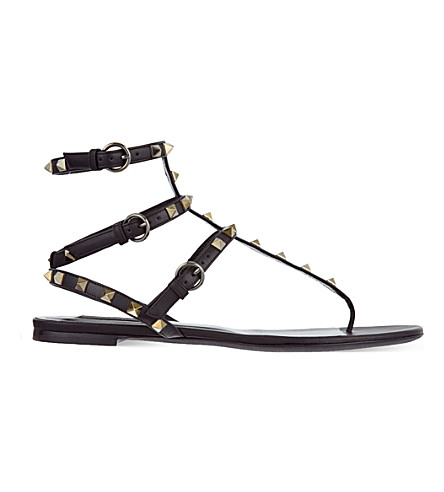 VALENTINO Rockstud leather gladiator sandals (Black