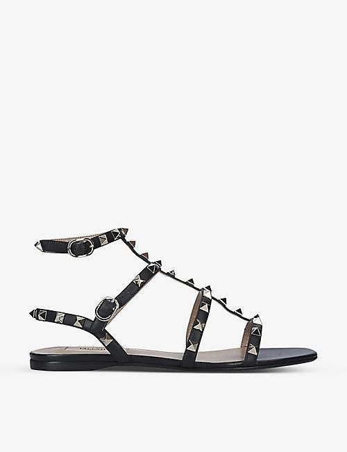 VALENTINO Rockstud 铆钉皮革罗马凉鞋