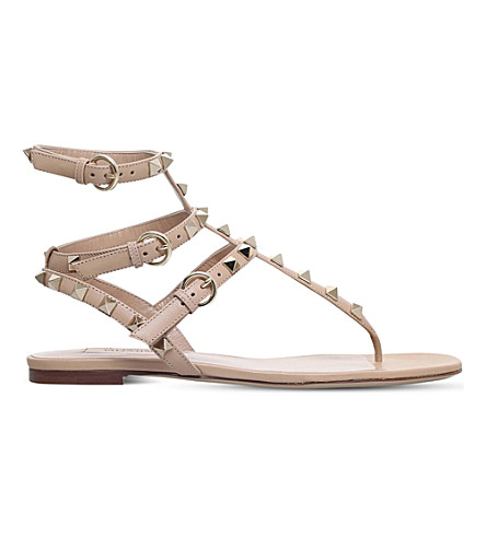 VALENTINO Rockstud leather gladiator sandals (Camel/oth