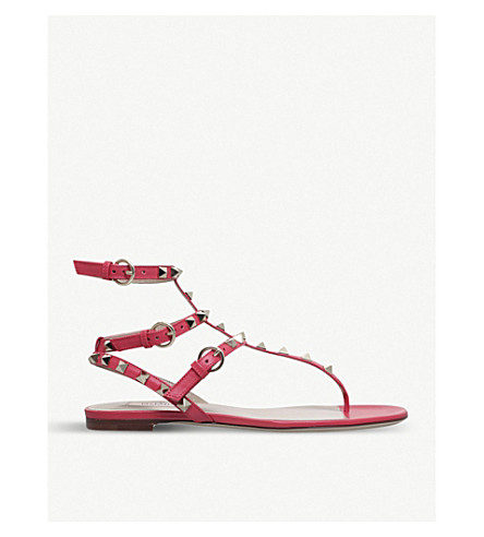 VALENTINO Rockstud studded leather gladiator sandals (Red