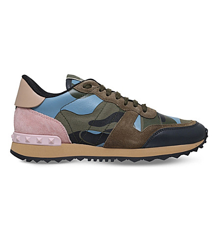 VALENTINO Camouflage suede and leather sneakers (Grey mixed