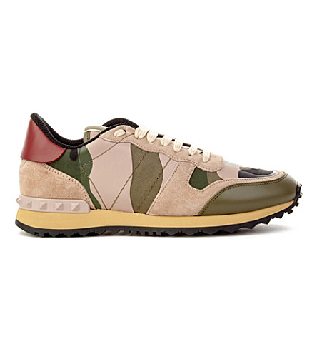 VALENTINO Camo leather and suede trainers (Taupe comb