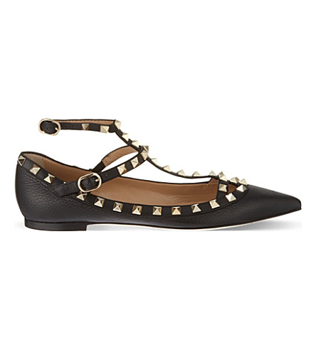 VALENTINO Rockstud leather ballerina flats (Black