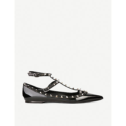 VALENTINO Patent leather rockstud ballerina pumps (Black