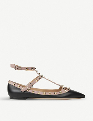 VALENTINO Rockstud leather ballerina pumps