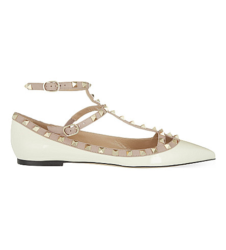VALENTINO Rockstud leather ballerina flats (Winter+wht