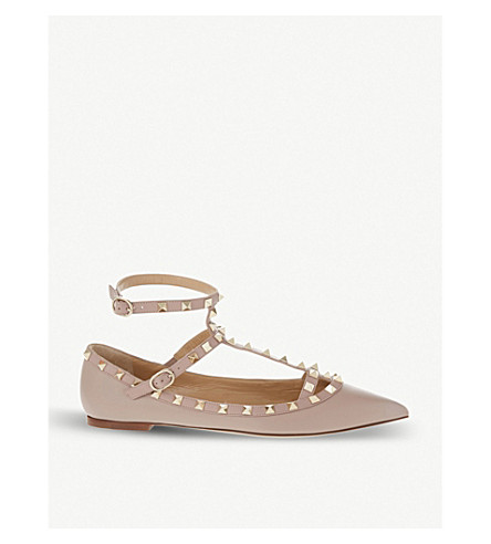 VALENTINO Rockstud leather pointed toe flats (Nude