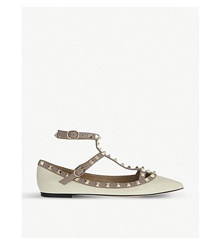 VALENTINO Rockstud leather ballet shoes (Bone