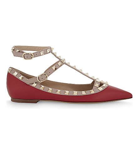 VALENTINO Rockstud leather ballerina flats (Red