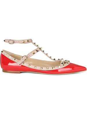 VALENTINO Patent leather rockstud ballerina pumps