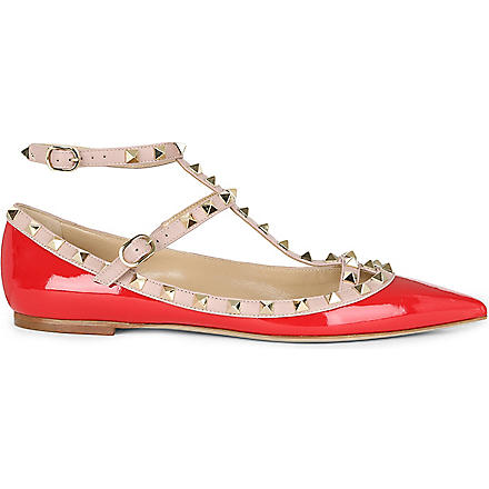 VALENTINO Patent leather rockstud ballerina pumps (Red