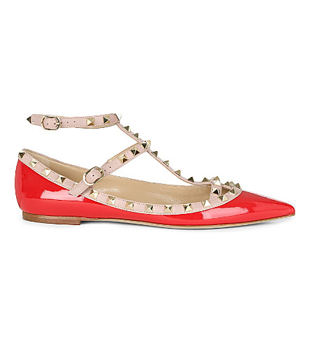 VALENTINO Rockstud patent-leather ballerina flats (Red