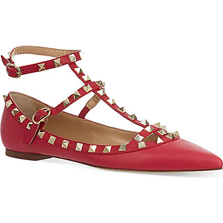 VALENTINO Rockstud ballerina pumps (Fushia