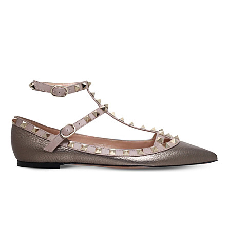 VALENTINO Rockstud metallic leather ballerina flats (Pewter