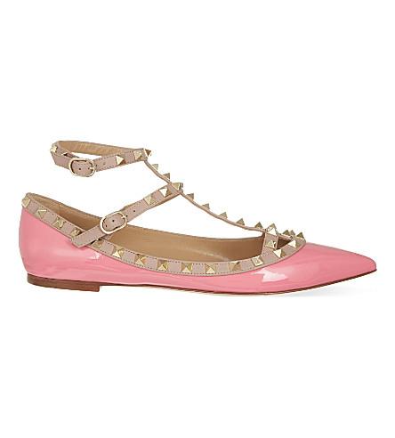 VALENTINO Rockstud patent-leather ballerina flats (Pink