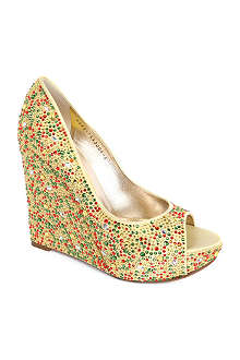 GINA Carnival Swarovski-embellished wedge courts