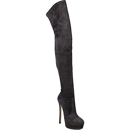 CASADEI Over-the-knee platform boots (Gunmetal