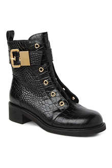 GIUSEPPE ZANOTTI Hailey mock-croc leather biker boots