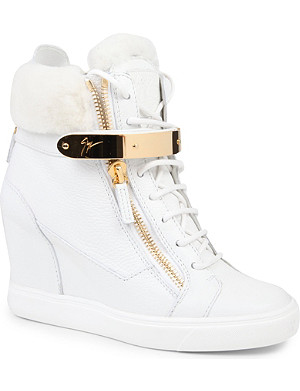 GIUSEPPE ZANOTTI Jasmine leather wedge trainers