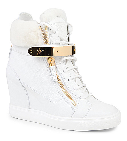 GIUSEPPE ZANOTTI Jasmine leather wedge trainers (White