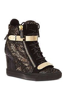 GIUSEPPE ZANOTTI Jenna leather wedge high tops