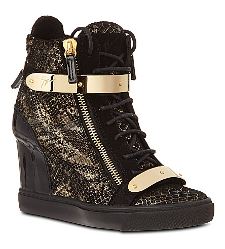 GIUSEPPE ZANOTTI Jenna leather wedge high tops (Gold