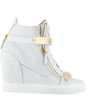 GIUSEPPE ZANOTTI Bucklewedge leather wedge hi tops