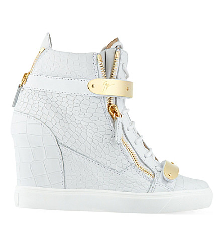 GIUSEPPE ZANOTTI Bucklewedge leather wedge hi tops (White/oth