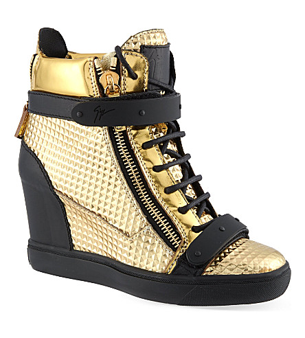 GIUSEPPE ZANOTTI Bucklewedge hi-top trainers (Gold