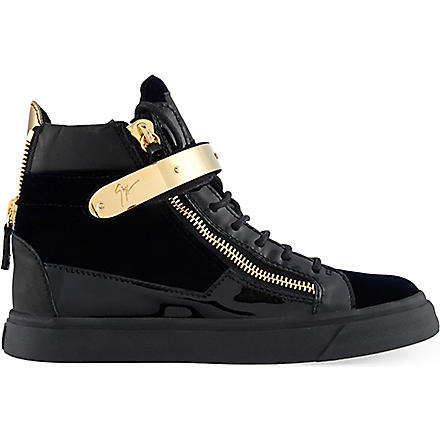 GIUSEPPE ZANOTTI Velvet high-top trainers (Navy