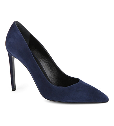 SAINT LAURENT Paris suede leather courts (Navy